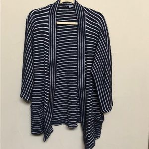 Splendid navy and white striped open cardigan